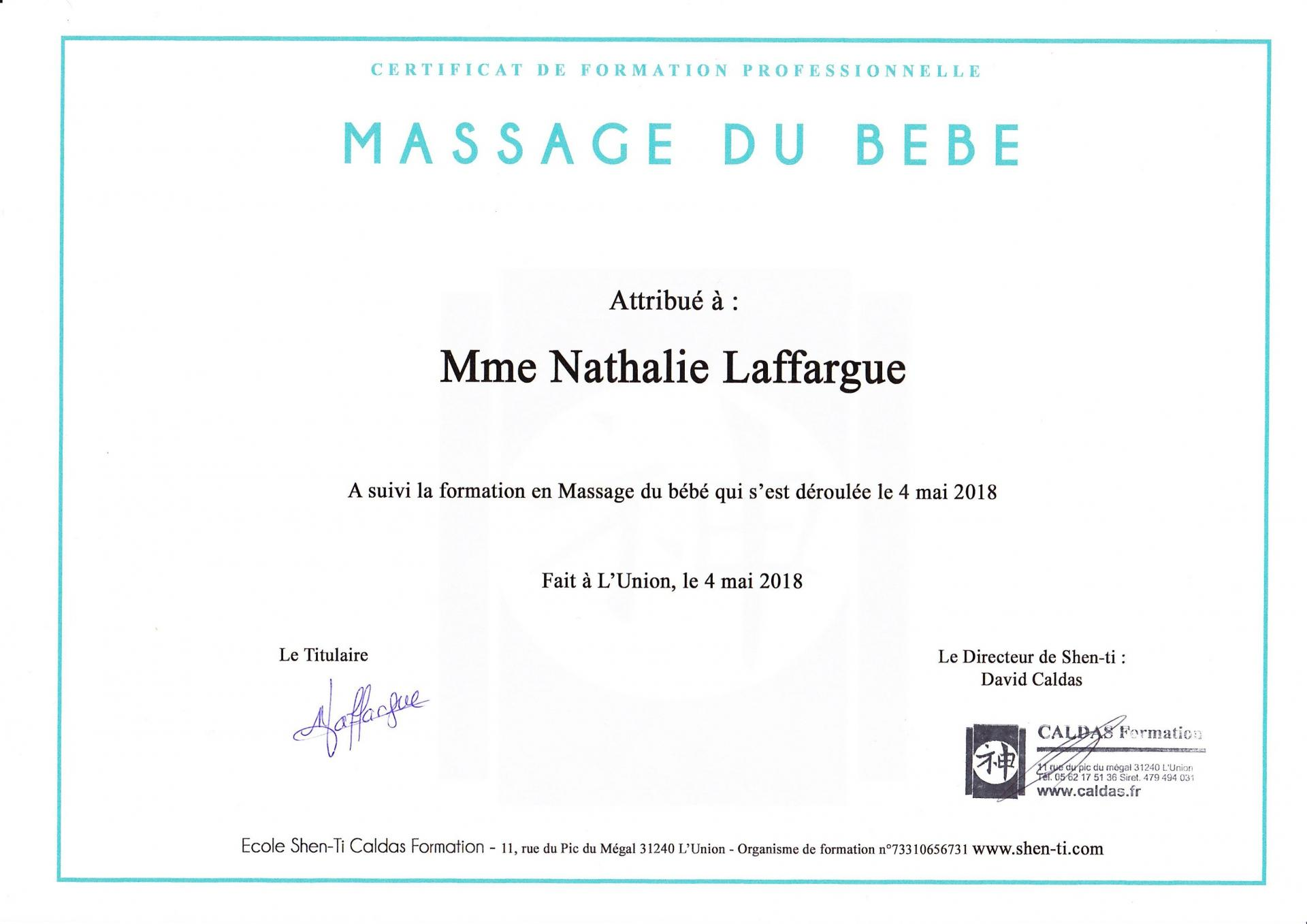 Diplome massage bebe