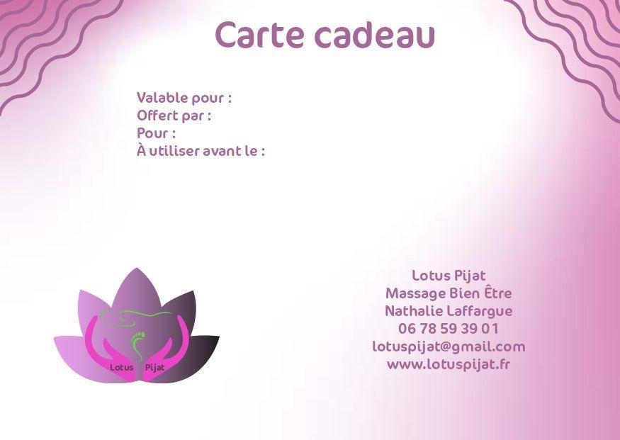 Modele carte cadeau lotus pijat